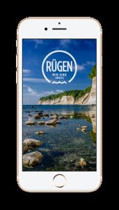 Startbildschirm der Rügen-App für iPhone und Android – elektronischer Reiseführer für Smartphones und Tablets